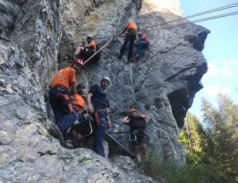 Übung zu Klettersteigunfall in der Kitzlochklamm